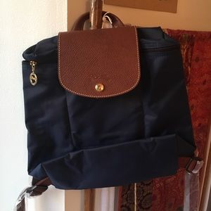 Never used navy longchamp small backpack